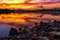Kansas City på soluppgång Fotografering för Bildbyråer