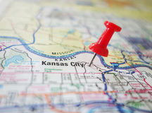 Kansas City. Red tack in a map of Kansas City, Kansas stock images