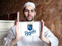 Kansas City Royals baseball team logo. Logo of Kansas City Royals team on samsung tablet holded by arab muslim man. The Kansas City Royals are an American Royalty Free Stock Images