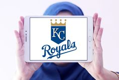 Kansas City Royals baseball team logo. Logo of Kansas City Royals team on samsung tablet holded by arab muslim woman. The Kansas City Royals are an American Stock Photos