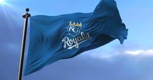 Kansas City Royals flag, american professional baseball team, waving - loop. Flag of the team of the Kansas City Royals, american professional baseball team stock footage