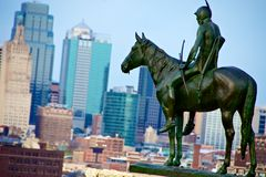 Kansas City Scout Statue. The Scout is a famous Kansas City landmark. The statue overlooks the Kansas City Skyline royalty free stock image