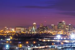 Kansas City Skyline with Kit Bond Bridge. Cityscape view of the Kansas City, Missouri skyline with the Kit Bond Bridge as part of the scene stock image