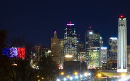 Kansas City Skyline with Liberty Memorial Royalty Free Stock Photos