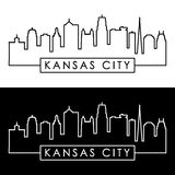 Kansas City skyline. Linear style. Stock Photo