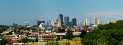 Kansas City Skyline Panorama. Panorama view of the Kansas City, Missouri skyline taken on 6/22/12 Stock Photos