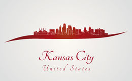 Kansas City skyline in red. And gray background in editable vector file Royalty Free Stock Photos