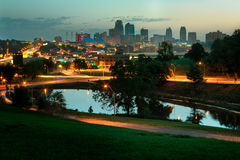 Kansas City Skyline at Sunrise. A horizontal image of downtown Kansas City, Missouri at sunrise.  The image is free of any trademark signs or on buildings Stock Photo