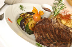Kansas City Steak. Served at restaurant Royalty Free Stock Photos