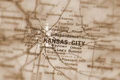 Kansas City, una città in U S fotografia stock