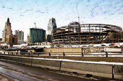 Kansas City Urban Construction. Iron framework of a new building being constructed in downtown kansas city stock photo