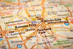 Kansas City, USA. Map Photography: Kansas City on a Road Map Royalty Free Stock Photos