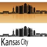 Kansas City V2 skyline in orange. Background in editable vector file Stock Photos
