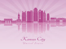Kansas City V2 skyline in purple radiant orchid. Kansas City skyline in purple radiant orchid in editable vector file Royalty Free Stock Images