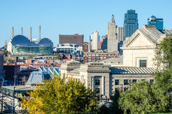 Kansas City View of Downtown. Scenic view of Kansas City Missouri. Historical Union Station at the front with fountains and modern sky scrapers and buildings in royalty free stock photos