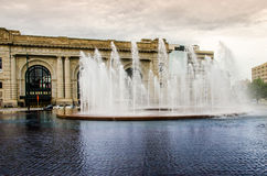 Kansas City Water fountain. City of fountains, Kansas City Missouri with Union Station in the background Royalty Free Stock Image