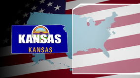 Kansas Countered Flag and Information Panel stock video