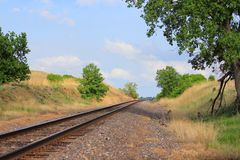 Kansas Country Railroad with Bluesky. A Kansas Country Railroad that's bright and colorful with blue sky, tree's, grass and railroad track's that's shot out in Royalty Free Stock Image