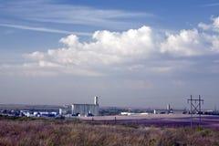Kansas--Dodge City Skyline at Sunrise. Grain elevators rise above the low skyline of Dodge City, Kansas stock photography