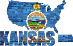 Kansas en una pared de ladrillo Imagen de archivo libre de regalías