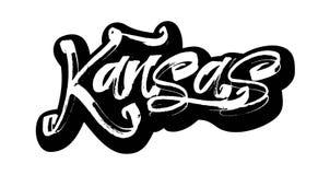 kansas etikett Modern kalligrafihandbokstäver för serigrafitryck Royaltyfri Fotografi