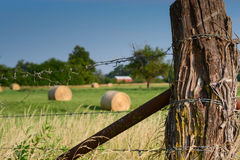 Kansas Fence. Hay bales rest behind an old barbed wire fence in a Kansas field Stock Image