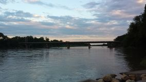 Kansas Fishing Hole. View of water, bridge and sunset from my fishing hole Stock Photography