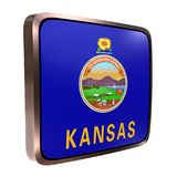 Kansas flag icon. 3d rendering of a Kansas State flag icon with a bright frame. Isolated on white background Royalty Free Stock Photo