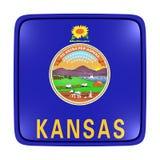 Kansas flag icon. 3d rendering of a Kansas State flag icon. Isolated on white background Royalty Free Stock Photo