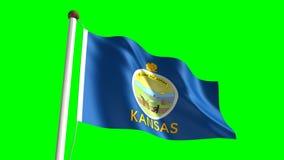 Kansas flag. Seamless  green screen stock video