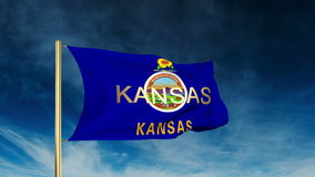Kansas flag slider style with title. Waving in the stock video footage