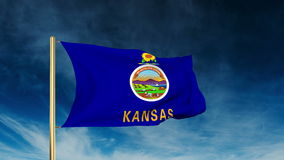 Kansas flag slider style. Waving in the win with. Kansas flag slider style. Waving with cloud background animation stock video footage
