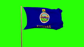 Kansas flag waving in the wind. Green screen. Alpha matte. Loops animation stock video footage