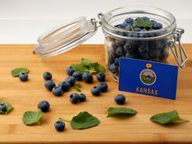 Kansas flag on a wooden plank with blueberries  on white Royalty Free Stock Image