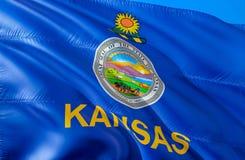 Kansas-Flagge 3D, das USA-Staatsflaggenentwurf wellenartig bewegt Das nationale US-Symbol von Kansas-Staat, Wiedergabe 3D Nationa stockfoto
