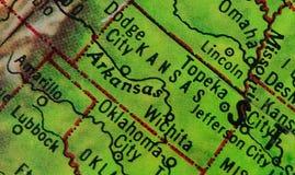 Kansas on the globe stock images