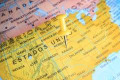 Kansas ha appuntato su una mappa dell'America Fotografia Stock