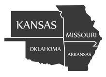 Kansas - Missouri - Oklahoma - Arkansas Map labelled black. Illustration Stock Images