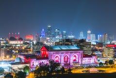 Kansas, Missouri, usa 09-15-17, piękna Kansas City linia horyzontu przy Fotografia Royalty Free