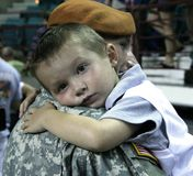 Kansas National Guard soldier and son. Royalty Free Stock Photos