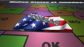 Kansas pull out from USA states abbreviations map. State Kansas pull out from USA map with american flag on background. A map of the US showing the two-letter stock video