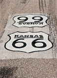 Kansas Route 66. Black and white sign painted on the road for Route 66 in Kansas Stock Photos
