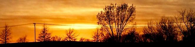 Kansas-Sonnenuntergang in Nord- Ost-Atchison Lizenzfreies Stockbild