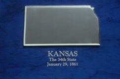 Kansas srebna Mapa Fotografia Royalty Free
