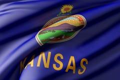 Kansas State flag. 3d rendering of a Kansas State flag waving Royalty Free Stock Photo