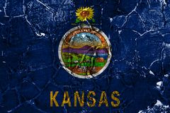 Kansas state grunge flag, United States of America.  royalty free stock photo