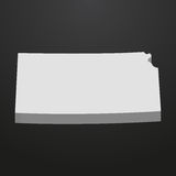 Kansas State map in gray on a black background 3d Stock Images