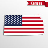 Kansas State map with US flag inside and ribbon Stock Photo