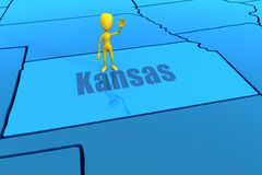 Kansas state outline with yellow stick figure Stock Image