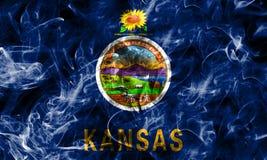 Kansas state smoke flag, United States Of America.  stock photo